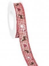 Vianočná látková stuha  s jeleňom 25mm - červená