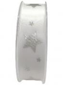Saténová vianočná stuha 25 mm s hviezdičkami - biela