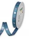 Vianočná stuha 15 mm s hviezdičkami - svetlá modrá