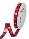 Vianočná stuha 15 mm s hviezdičkami - červená
