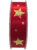Saténová vianočná stuha 25 mm s hviezdičkami - červená