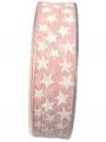 Vianočná bavlnená stuha s hviezdičkami 25 mm - ružová