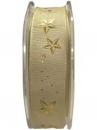 Saténová vianočná stuha 23 mm s hviezdičkami - zlatá