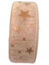 Vianočná stuha s hviezdičkami 35 mm - medená