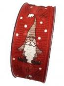 Vianočná stuha so škriatkom 4cm - červená