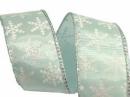 Látková vianočná stuha 40 mm s vločkami - mentolová