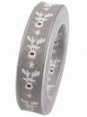 Vianočná stuha 25 mm so sobom - sivá