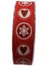Vianočná bavlnená stuha 25 mm - červená