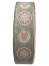 Vianočná bavlnená stuha 25 mm - sivá
