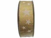 Vianočná stuha s hviezdičkami  25mm - zlatá