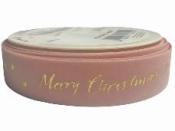 Vianočná velúrová stuha Merry Christmas 25 mm - staroružová