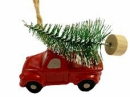 Vianočné autíčko so stromčekom 5,5 cm - červené