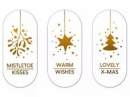 Vianočné nálepky sada 3 kusy LOVELY - biele