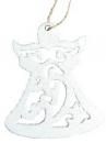 Vianočný drevený výrez anjel 7 cm - biely