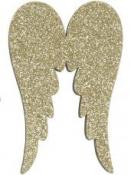 Vianočný drevený výrez anjelské krídla 5 cm - zlaté