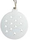 Vianočný drevený výrez guľa 6 cm - biely
