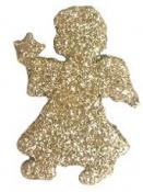 Vianočný drevený výrez anjel 5 cm - zlatý
