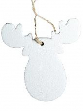 Vianočný drevený výrez sob 6 cm - biely