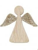 Vianočný drevený výrez anjel 5 cm - zlaté krídla