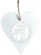 Vianočný drevený výrez srdce 7 cm - biely