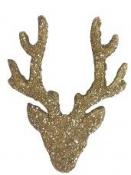 Vianočný drevený výrez jeleň 5 cm - zlatý