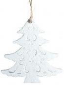 Vianočný drevený výrez stromček 7 cm - biely