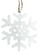 Vianočný drevený výrez vločka 7 cm - biely