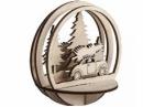 Vianočný drevený výrez kruh - auto so stromom