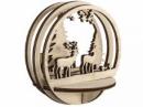 Vianočný drevený výrez kruh - krajina