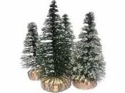 Dekoračný vianočný stromček 11-15 cm - sada 4 ks