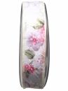 Látková stuha 25 mm vintage kvety - biela