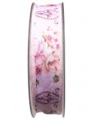 Látková stuha 25 mm vintage kvety - ružová