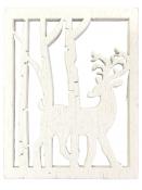 Drevený výrez jeleň 4,5x3,5cm - biely