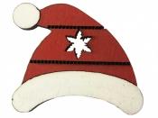 Drevený výrez čiapka 4cm - červená
