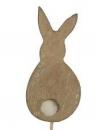 Drevený zajačik na špilke - hnedý