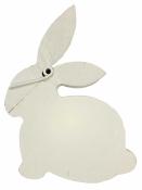 Drevený zajac 8cm biely - štipec
