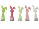 Drevený výrez 6cm zajac - svetlý zelený s pom-pom chvostíkom