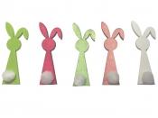 Drevený výrez 6cm zajac - biely s pom-pom chvostíkom