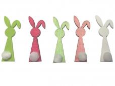 Drevený výrez 6cm zajac - ružový s pom-pom chvostíkom
