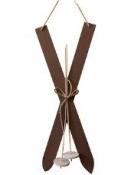 Lyže - vianočná závesná dekorácia 60 cm - hnedé