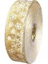 Vianočná stuha 25mm s vločkami - zlatá